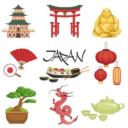 Los símbolos clásicos Cultura japonés fijado. Aislado Representación de Japón en el fondo blanco