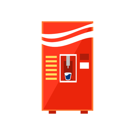 cold drinks: Cold Drinks Vending Machine Design In Primitive Bright Cartoon Flat Vector Style Isolated On White Background