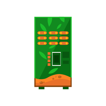 hot drinks: Hot Drinks Vending Machine Design In Primitive Bright Cartoon Flat Vector Style Isolated On White Background