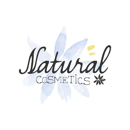 natural cosmetics: Natural Cosmetics Beauty Promo Sign Watercolor Stylized Hand Drawn Logo With Text On White Background