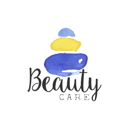 beuty: Beuty Care Promo Sign Watercolor Stylized Hand Drawn Logo With Text On White Background