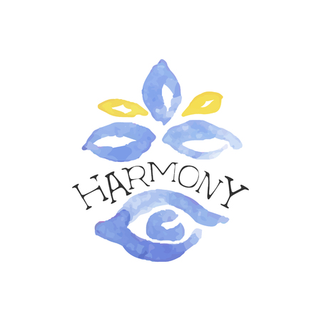 Harmony Zen Beauty Promo Sign Watercolor Stylized Hand Drawn Logo With Text On White Background