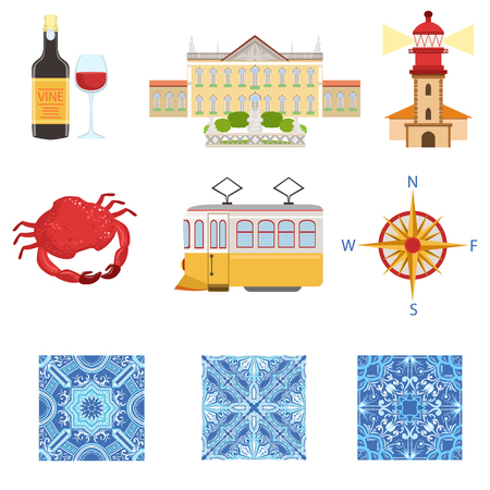 azulejos: Collection Of Portuguese National Symbols Objects. The Famous Portuguese Azulejos Things, The Parliament, Lighthouse, Seafood, Wine Vector Illustration. Illustration