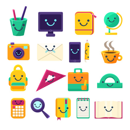 pone: Office Desk Supplies Set Of Characters In Primitive Childish Cartoon Flat Vector Design Isolated On White Background