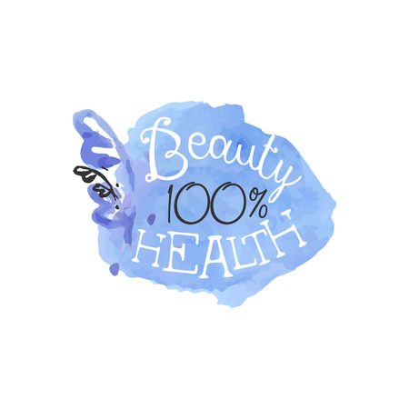 health beauty: 100 Percent Health Beauty Promo Sign Watercolor Stylized Hand Drawn Logo With Text On White Background