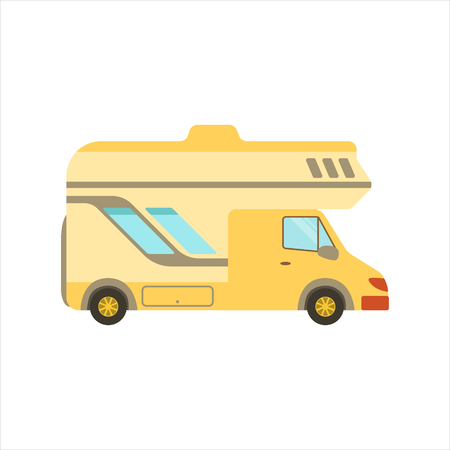 motorhome: Yellow Travel Van Icon. Family Motorhome Flat Colorful Car. Microbus For Family Vacation Isolated Illustration.