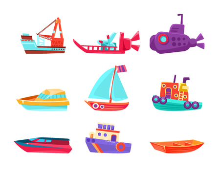 Water Transport Toy Set Of Bright Color Boats In Simple Childish Style Isolated On White Background