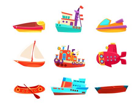 白い背景に分離されたシンプルな幼稚なスタイルの明るい色のボートの水輸送グッズ コレクション