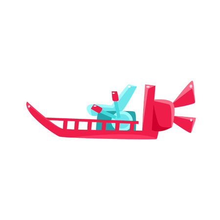 toy boat: Flat Bottom Speed Toy Boat Bright Color Icon In Simple Childish Style Isolated On White Background