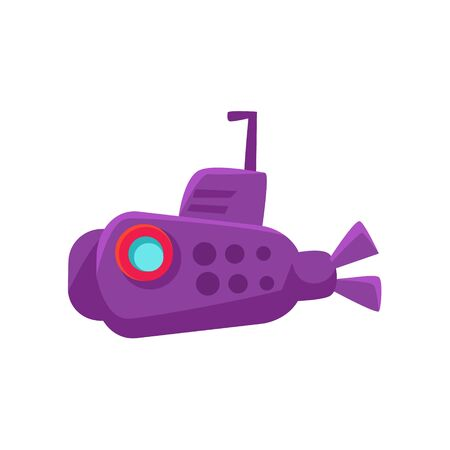 toy boat: Purple Submarine Toy Boat Bright Color Icon In Simple Childish Style Isolated On White Background