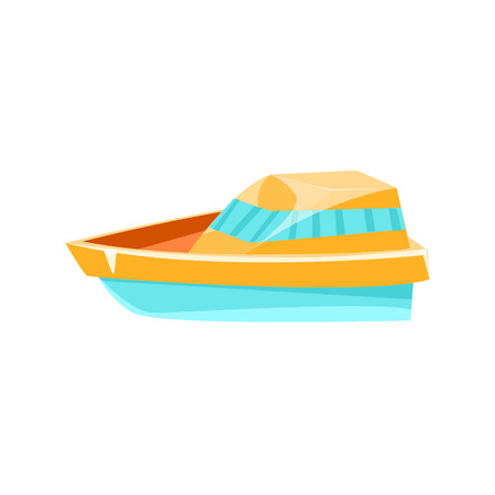 toy boat: Cutter Toy Boat Bright Color Icon In Simple Childish Style Isolated On White Background
