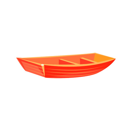 peddle: Primitive Wooden Toy Boat Bright Color Icon In Simple Childish Style Isolated On White Background
