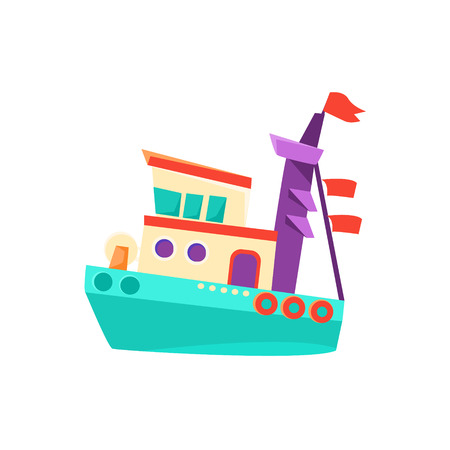 Marine Military Toy Boat Bright Color Icon In Simple Childish Style Isolated On White Background