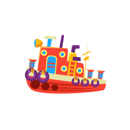 toy boat: Steamer Fishing Toy Boat Bright Color Icon In Simple Childish Style Isolated On White Background Illustration
