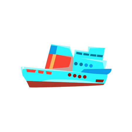 toy boat: Cruise Liner Toy Boat Bright Color Icon In Simple Childish Style Isolated On White Background