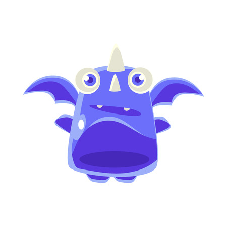 blue dragon: Cute Jelly Toy Blue Dragon Icon Bright Glossy Drawing In Fantastic Childish Style Isolated On White Background