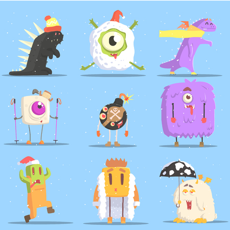 situations: Winter Dressed Monsters in Funny Situations. Funky Creatures Colorful Characters With Winter Attributes On Blue Background.