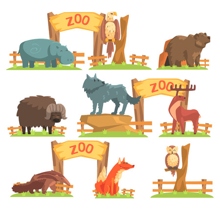 shed: Wild Animals Behind The Fence In Zoo Set. Colorful Illustration With Outdoors Zoo In Vector Funky Stylized Design