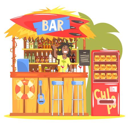 En Beach Bar Tropical del estilo del diseño con la sonrisa de Rasta Barman. Color brillante gráfico fresco plana Vector ilustración detallada. Ilustración de vector