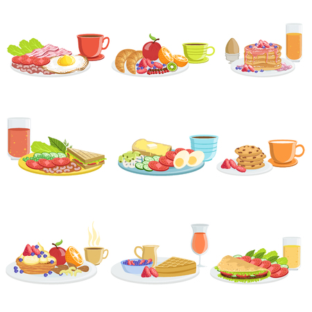 simple meal: Breakfast Meal Different Sets. Collection Of Morning Menu Plates Illustrations In Detailed Simple Vector Design.