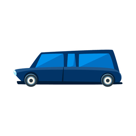limousine: Limousine Toy Cute Car Icon. Flat Vector Transport Model Simple Illustration Isolated On White Background.