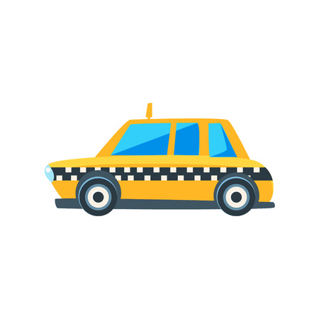 cute car: Yellow Taxi Toy Cute Car Icon. Flat Vector Transport Model Simple Illustration Isolated On White Background.