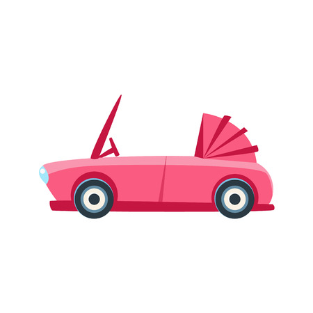 cabriolet: Pink Cabriolet Toy Cute Car Icon. Flat Vector Transport Model Simple Illustration Isolated On White Background.