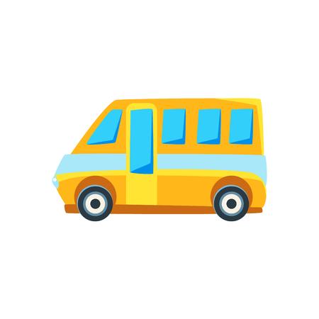 mini van: Yellow Mini Van Toy Cute Car Icon. Flat Vector Transport Model Simple Illustration Isolated On White Background.