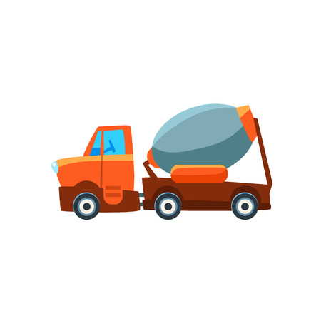 cute car: Concrete Mixer Toy Cute Car Icon. Flat Vector Transport Model Simple Illustration Isolated On White Background.