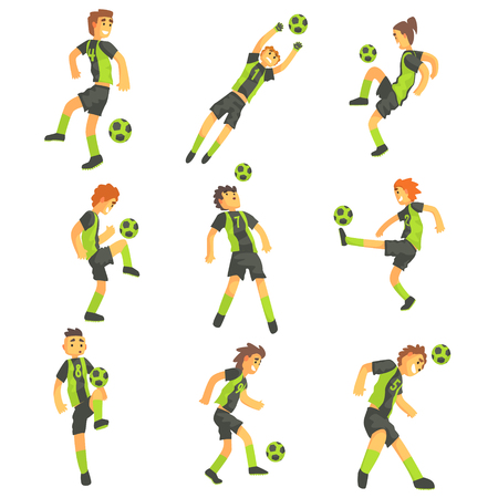 one team: Football Players Of One Team With Ball Isolated Illustration Set. Flat Cartoon Characters In Simple Childish Style Vector Drawings. Illustration