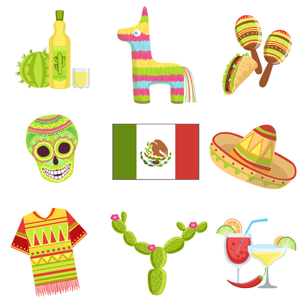 Mexican Culture Symbols Set Of Items Isolated Objects Representing