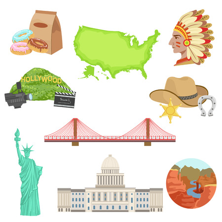 grand canyon: USA National Symbols Set Of Items. Isolated Objects Representing United States Of America On White Background