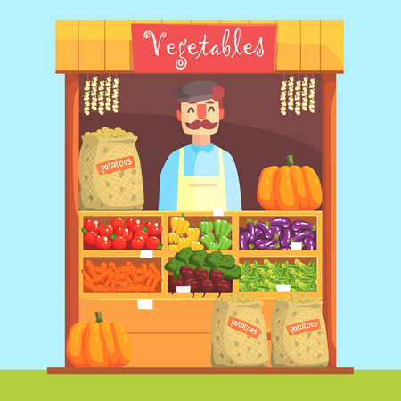 assortment: Vendor Behind Market Counter With Assortment Of Vegetables. Bright Color Graphic Cool Flat Vector Detailed Illustration.