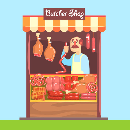assortment: Butcher Behind Market Counter With Assortment Of Meat. Bright Color Graphic Cool Flat Vector Detailed Illustration. Illustration
