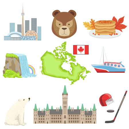 niagara falls city: Canadian National Symbols Set Of Items. Isolated Objects Representing Canada On White Background Illustration