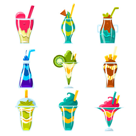 multilayered: Smoothies And Sweet Multilayered Cocktails Set Of Bright Color Glossy Icons, Cute Vector Clipart Objects On White Background