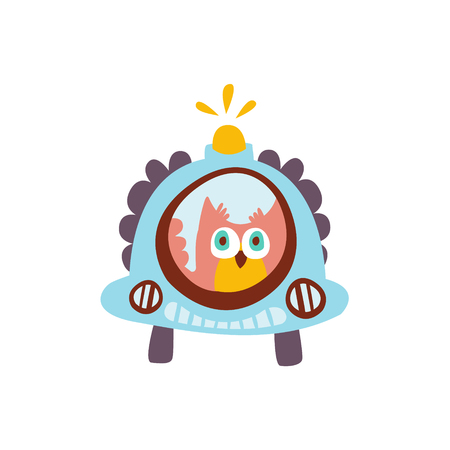 Owl Driving A Car With Blinker Stylized Fantastic Illustration Childish Simplified Funny Flat Drawing On White Background Illustration