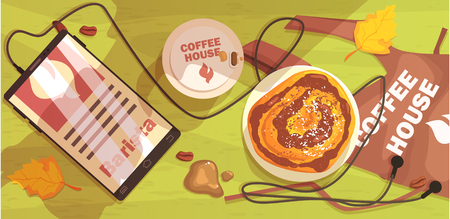 autumn scene: Coffee Shop Table Outdoors With Barista Apron, Smartphone And Cappuccino. Cool Colorful Vector Illustration In Stylized Geometric Cartoon Design Illustration