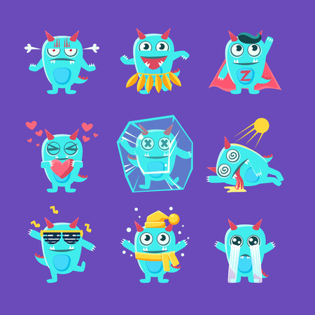 burned out: Blue Dragon Character Activities. Set Of Silly Childish Drawings Isolated On Blue Background. Funny Fantastic Animal Colorful Vector Stickers Set.