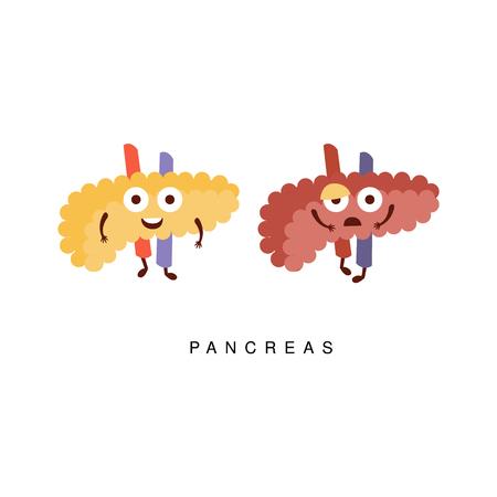 pancreatitis: Healthy vs Unhealthy Pancreas Infographic Illustration.Humanized Human Organs Childish Cartoon Characters On White Background