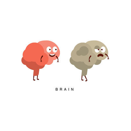 Healthy vs Unhealthy Brain Infographic Illustration.Humanized Human Organs Childish Cartoon Characters On White Background Illustration