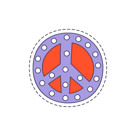 childish: Peace Symbol Bright Hipster Sticker With Outlined Border In Childish Style Illustration