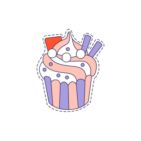 Cupcake Bright Hipster Sticker With Outlined Border In Childish Style