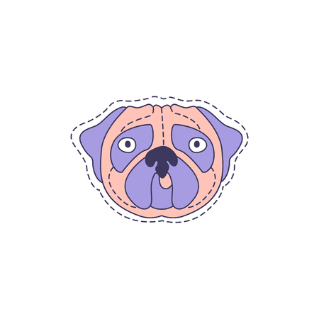patch of light: Pug Face Bright Hipster Sticker With Outlined Border In Childish Style Illustration