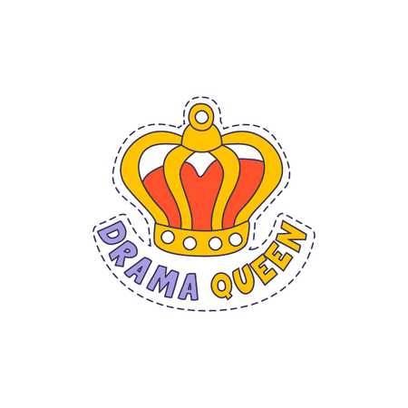 childish: Drama Queen Crown Bright Hipster Sticker With Outlined Border In Childish Style