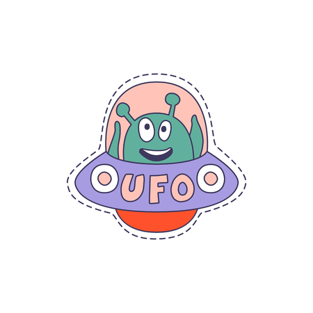 patch of light: UFO With Alien Bright Hipster Sticker With Outlined Border In Childish Style