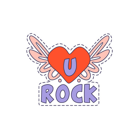 U Rock Winged Heart Bright Hipster Sticker With Outlined Border In Childish Style