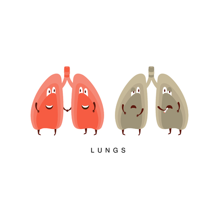 insides: Healthy vs Unhealthy Lungs Infographic Illustration.Humanized Human Organs Childish Cartoon Characters On White Background