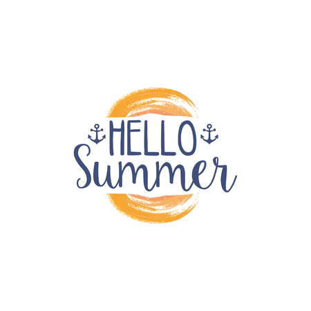 touristic: Hello Summer Message Watercolor Stylized Label. Bright Color Summer Vacation Hand Drawn Promo Sign. Touristic Agency Vector Ad Template. Illustration