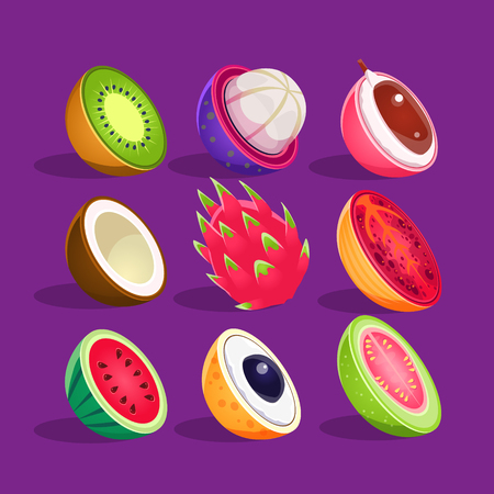 insides: Tropical Fruits Sliced In Half Set Of Bright Icons. Isolated Vector Drawings Of Exotic Fruits On Dark Background